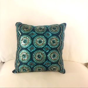 Pier 1 Beaded Embroidered Boho Pillow